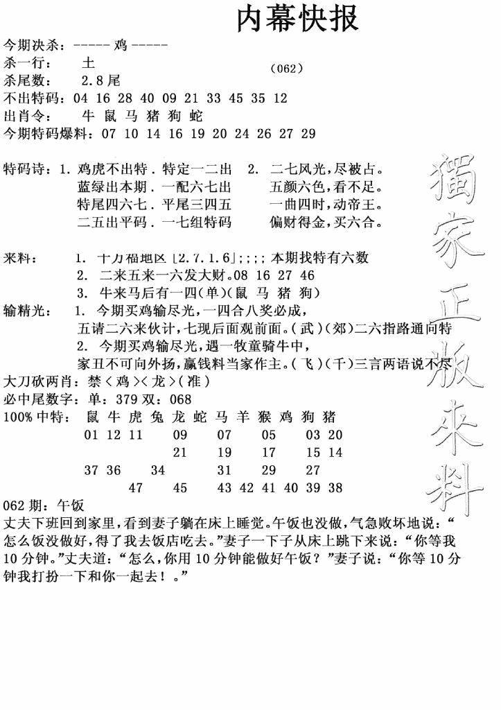 062期内幕快报(黑白)