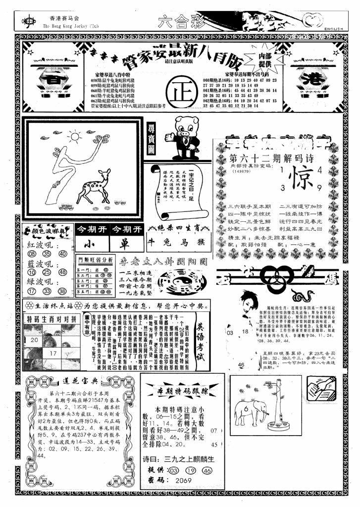 062期管家婆八肖版(新)(黑白)