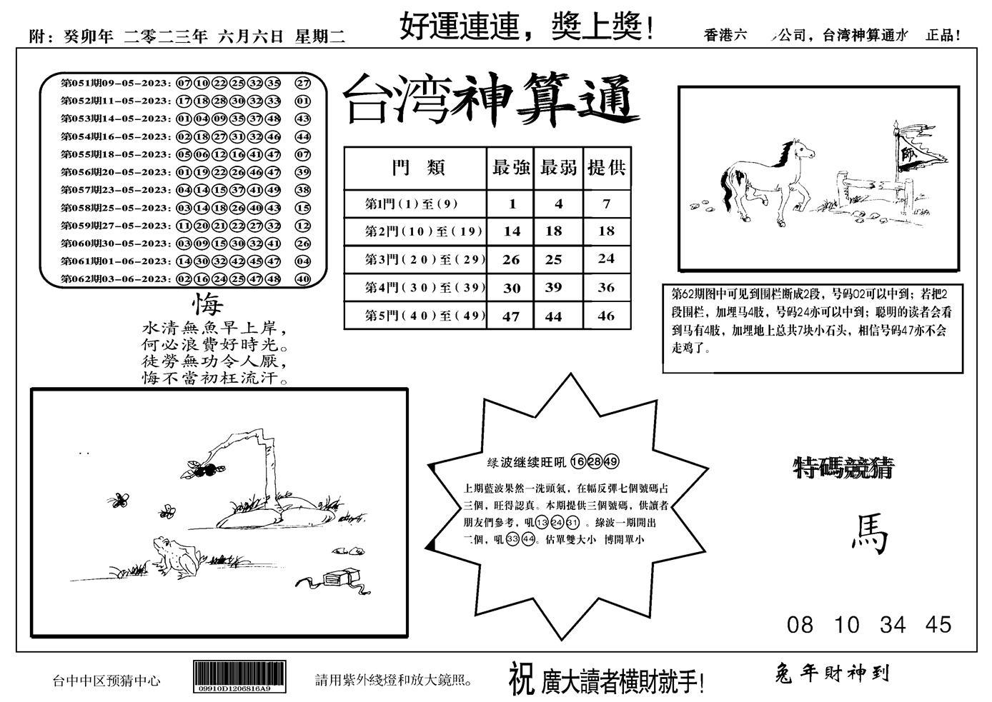 063期台湾神算(正版)(黑白)