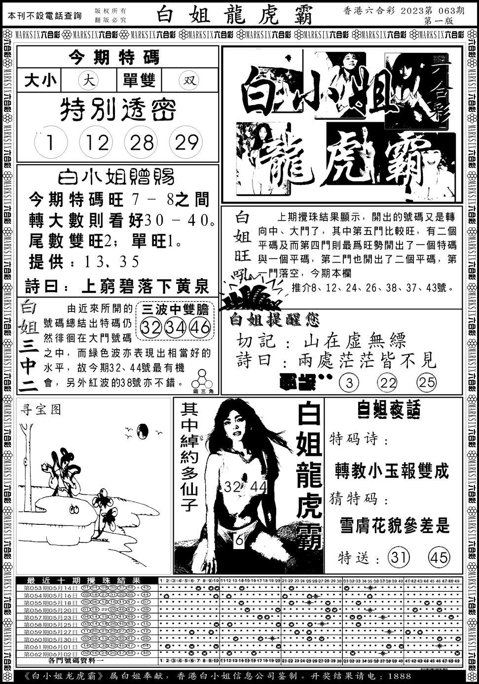063期白小姐龙虎斗A(黑白)