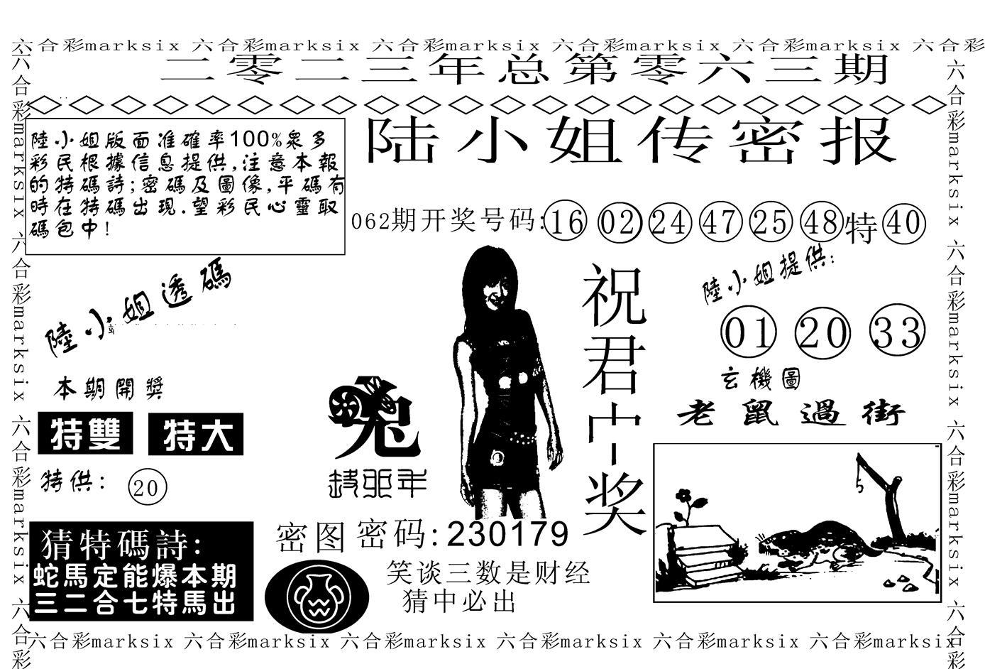 063期陆小姐传密A(黑白)