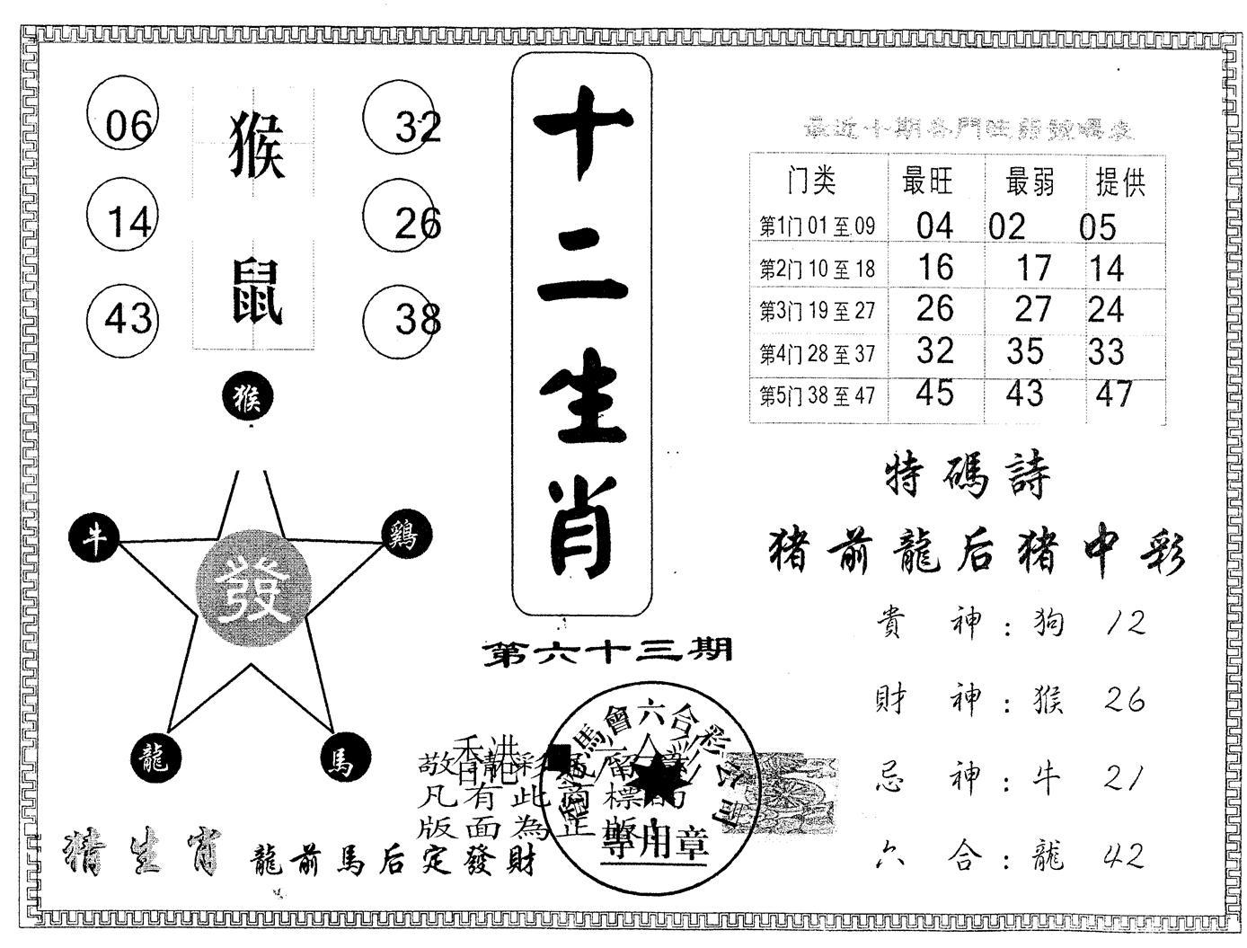063期另版十二生肖(黑白)