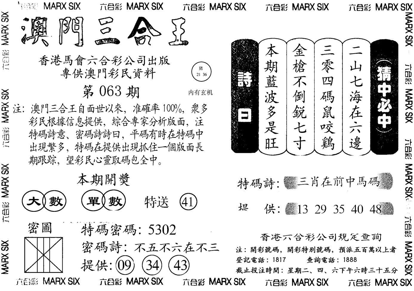 063期澳门三合王B(黑白)