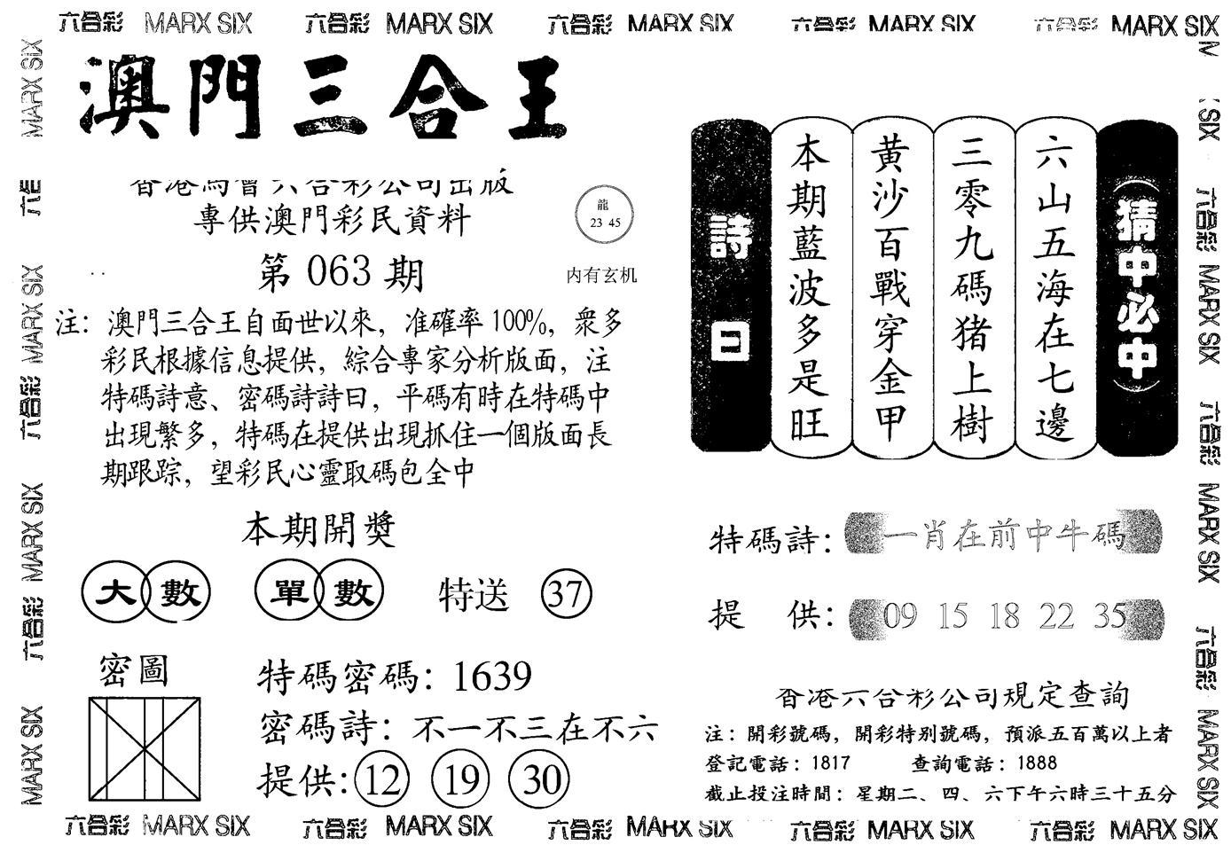 063期另澳门三合王A(黑白)
