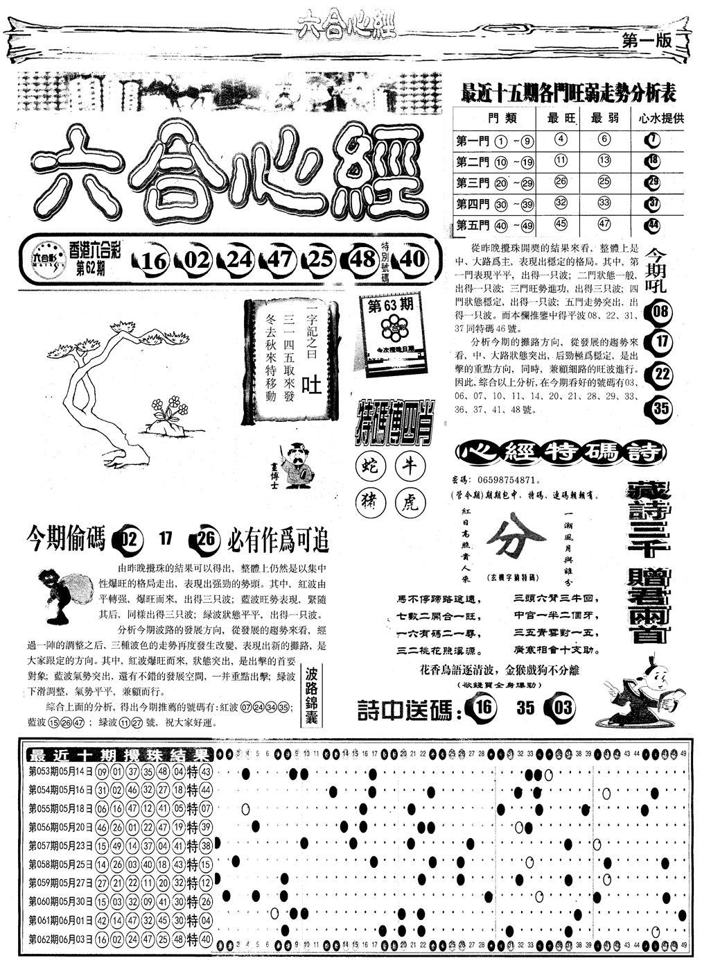 063期另版六合心经A(黑白)