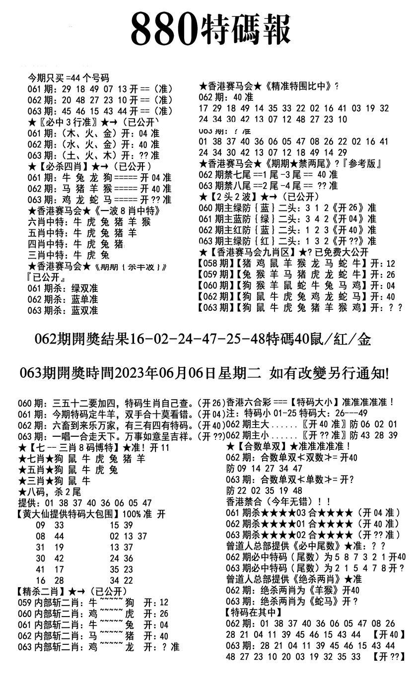 063期九龙880特码报(黑白)