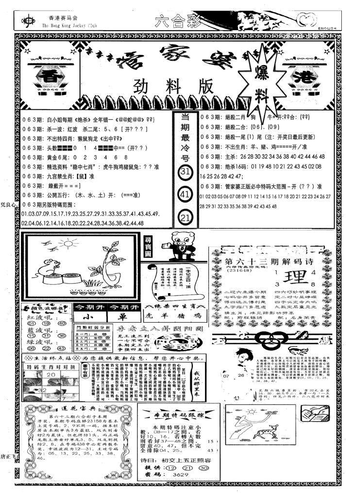 063期管家婆劲料版(新)(黑白)