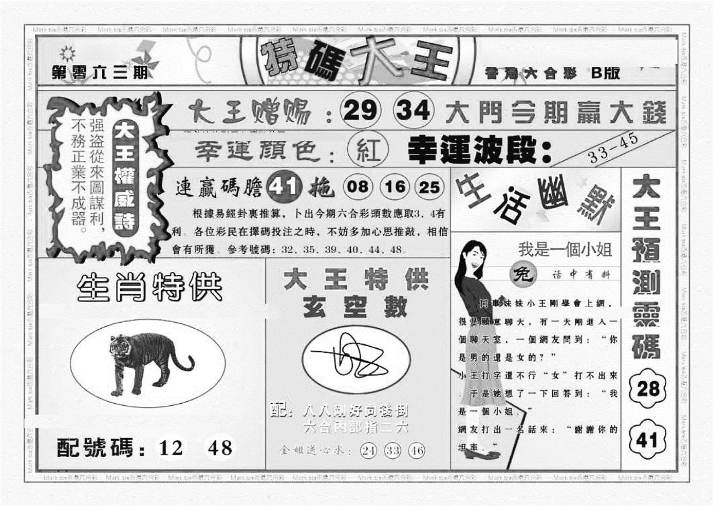 063期特码大王B(黑白)