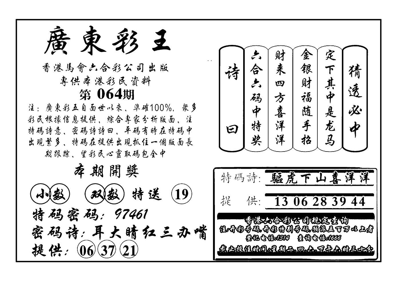 064期广东彩王(黑白)