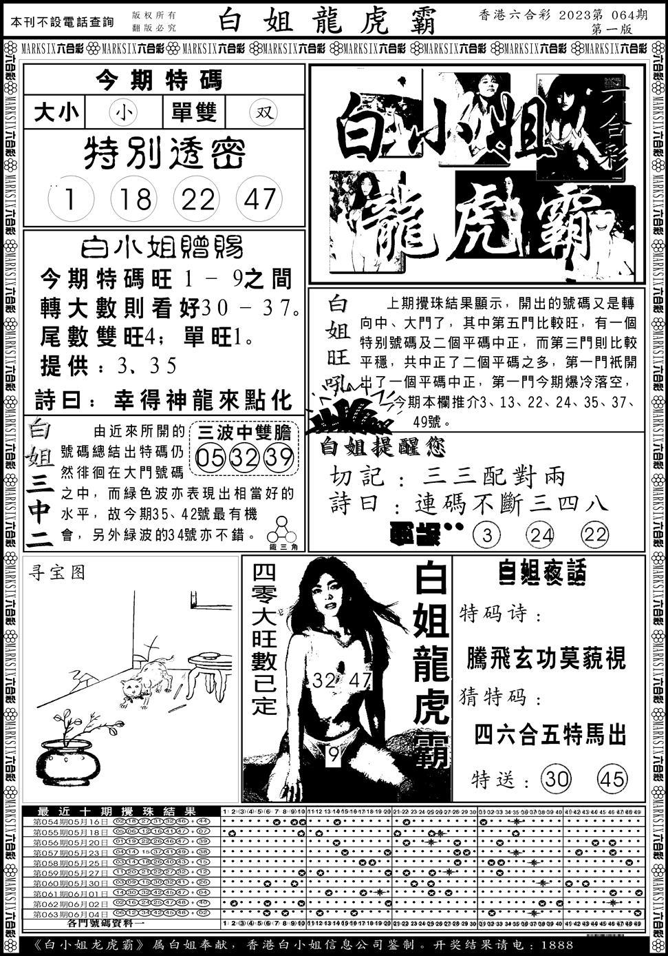 064期白小姐龙虎斗A(黑白)