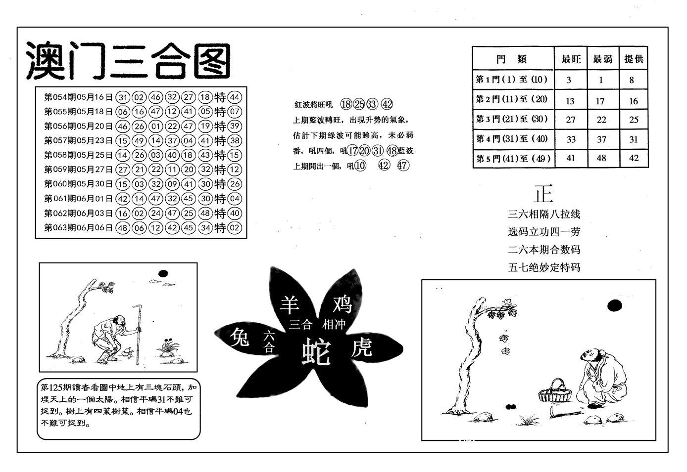 064期另澳门三合图(黑白)
