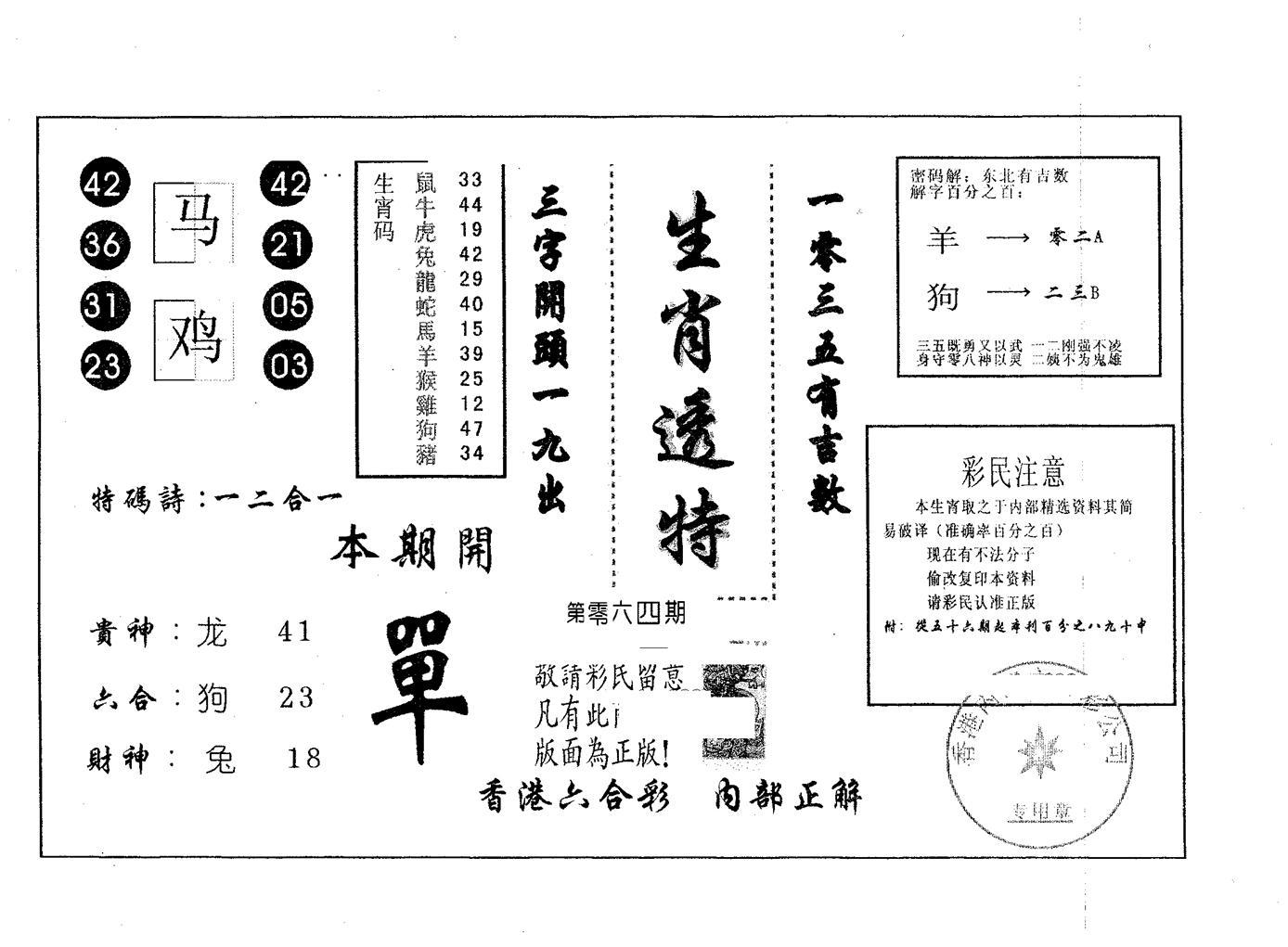 064期生肖透特(黑白)