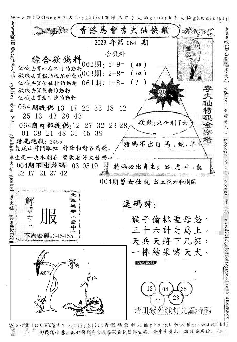 064期另版李大仙快报(黑白)