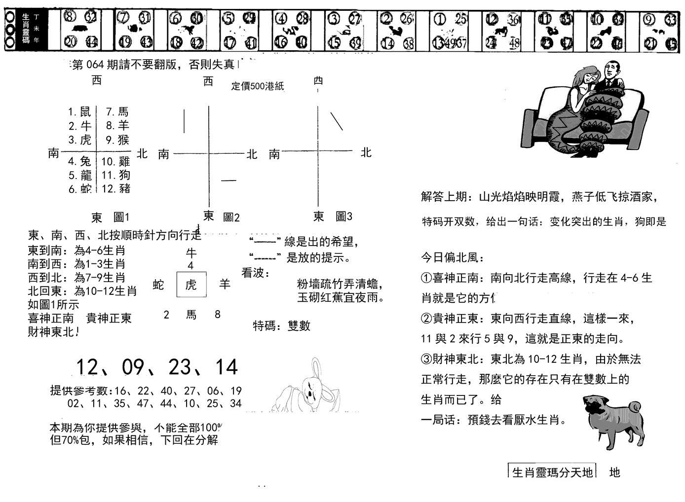 064期正版澳门足球报(黑白)