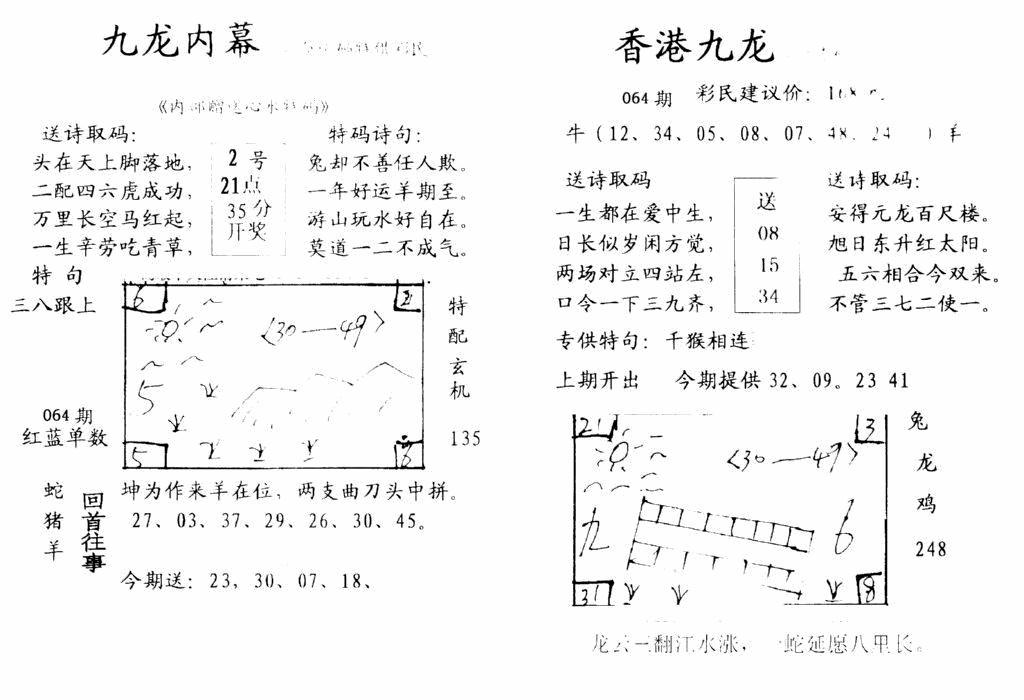 064期九龙内幕-开奖报(早图)(黑白)