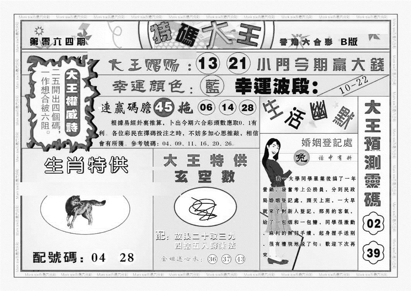 064期特码大王B(黑白)