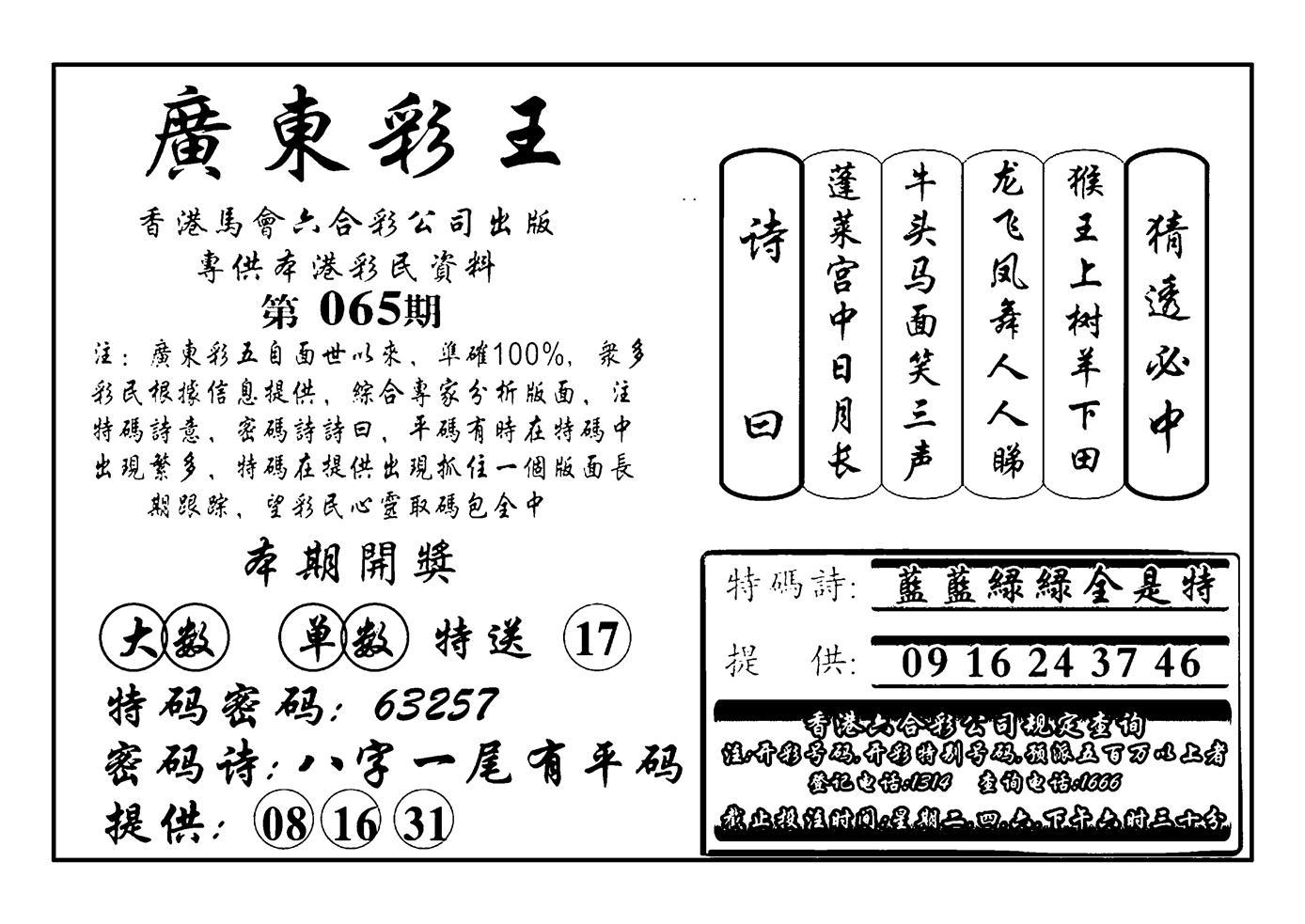 065期广东彩王(黑白)