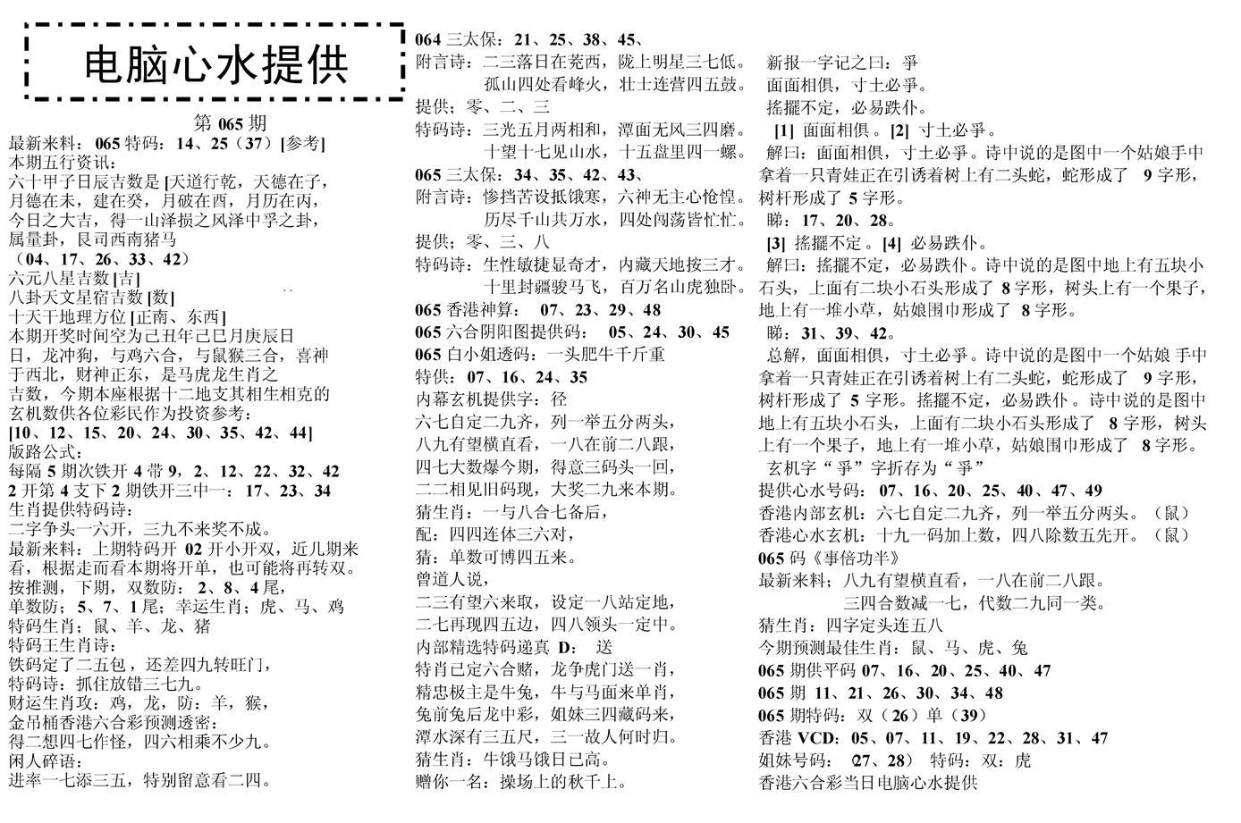 065期电脑心水(黑白)