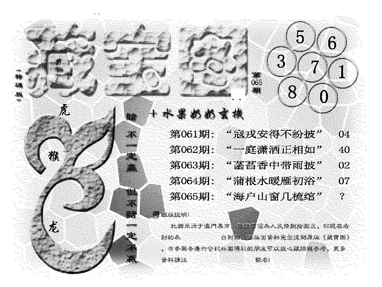065期(九龙藏宝图)正版(黑白)