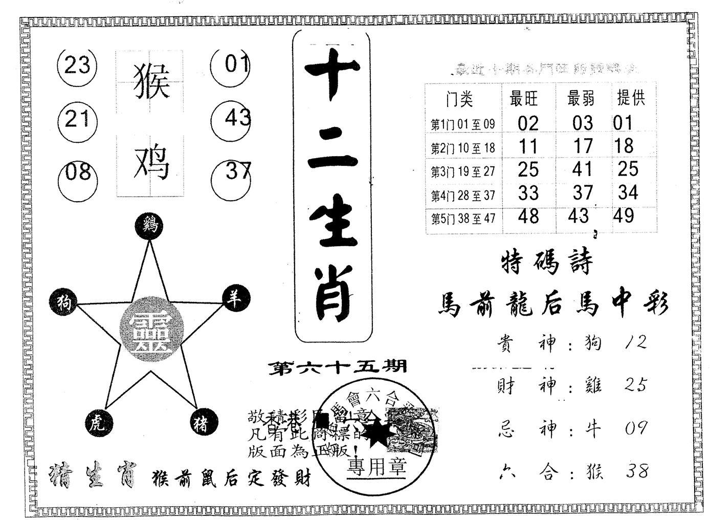 065期另版十二生肖(黑白)