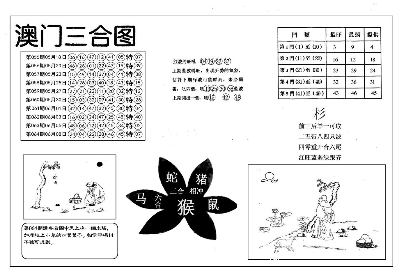 065期另澳门三合图(黑白)
