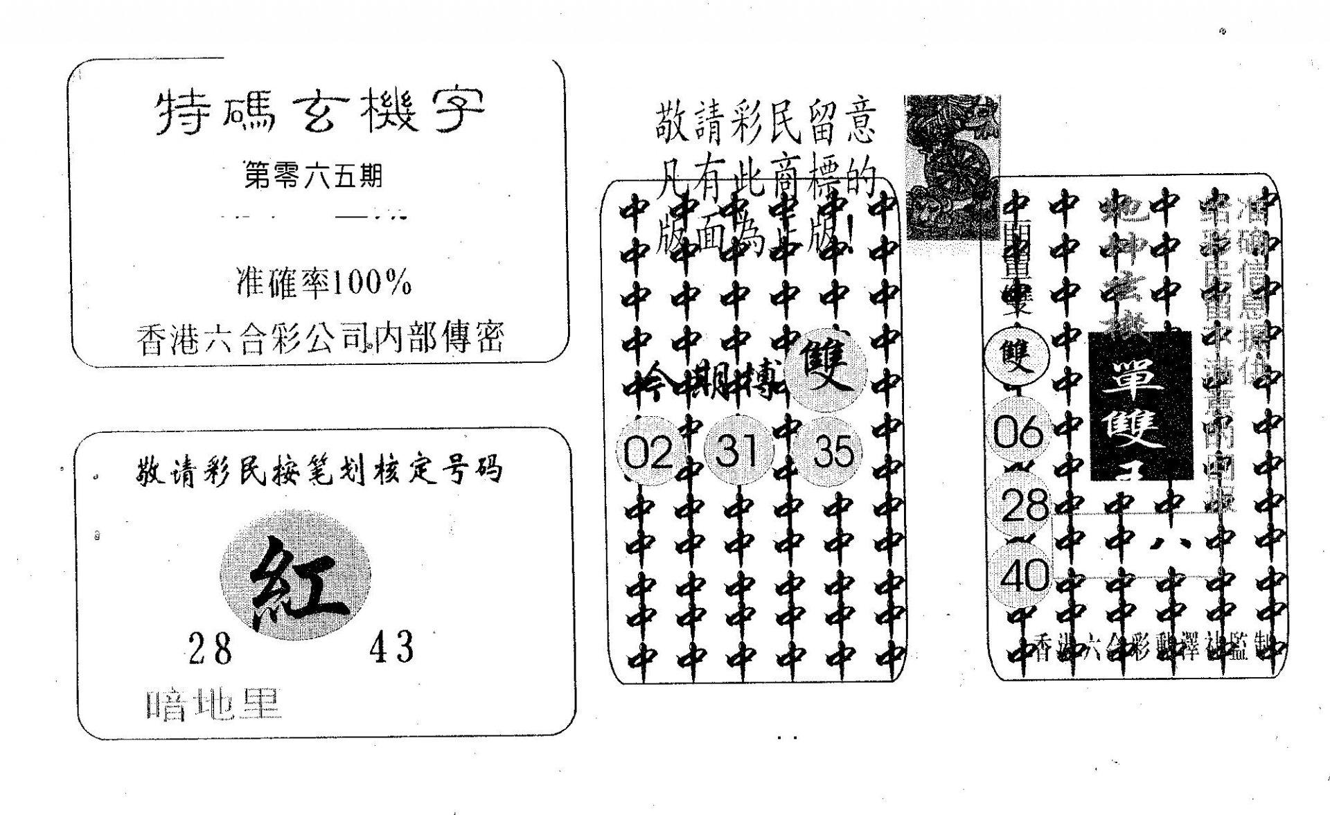 065期特码玄机字(黑白)