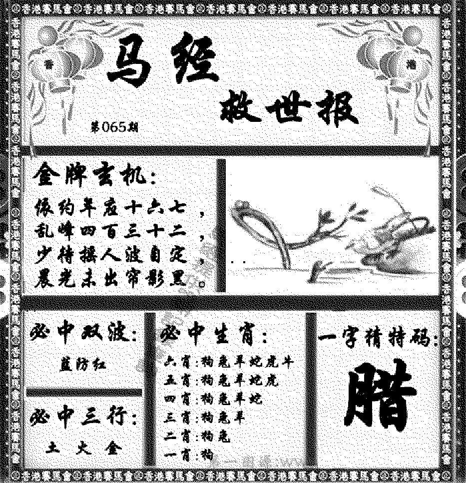 065期马经救世报(黑白)