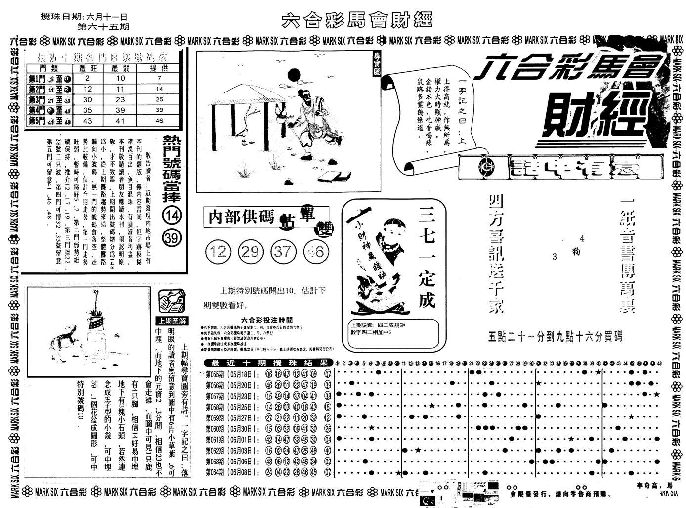 065期另版马会财经A(黑白)