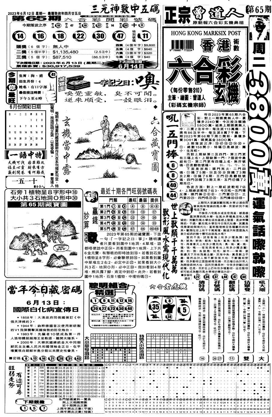 066期新报跑狗A(正面)(黑白)