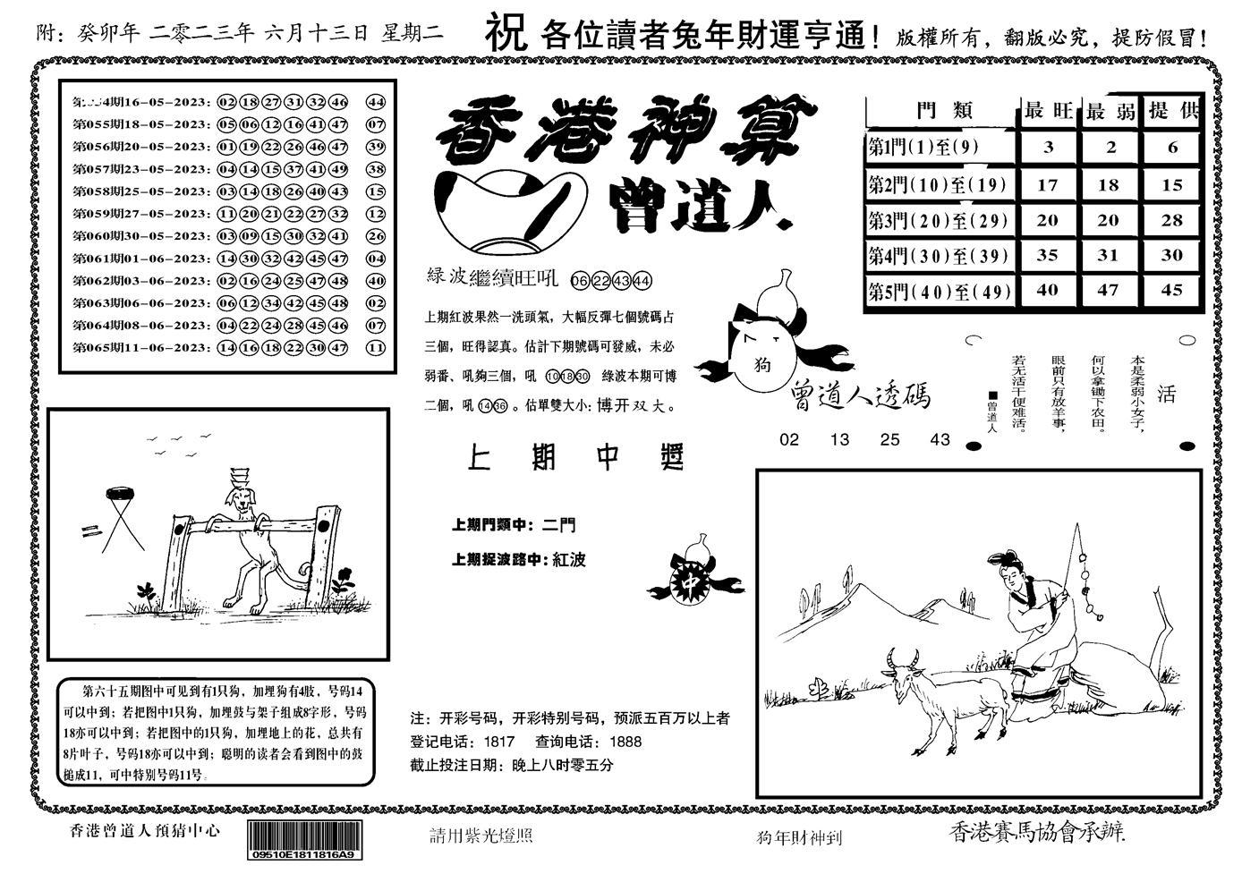 066期香港神算(正版)(黑白)