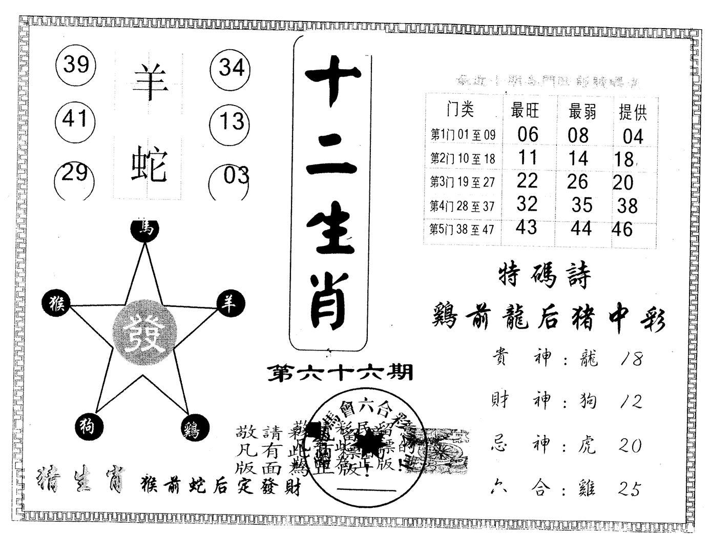 066期另版十二生肖(黑白)