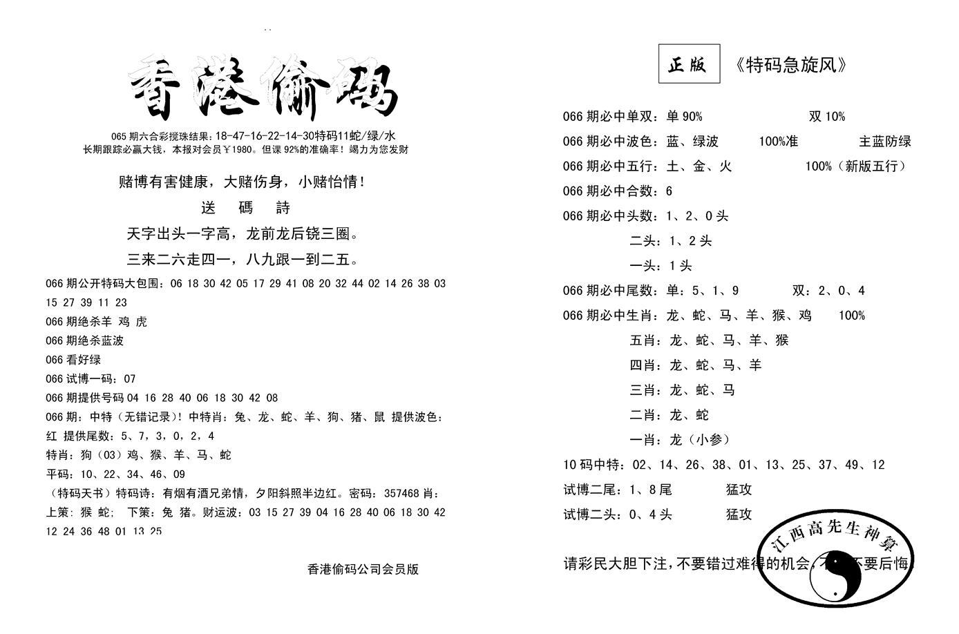 066期偷码必中单双(黑白)