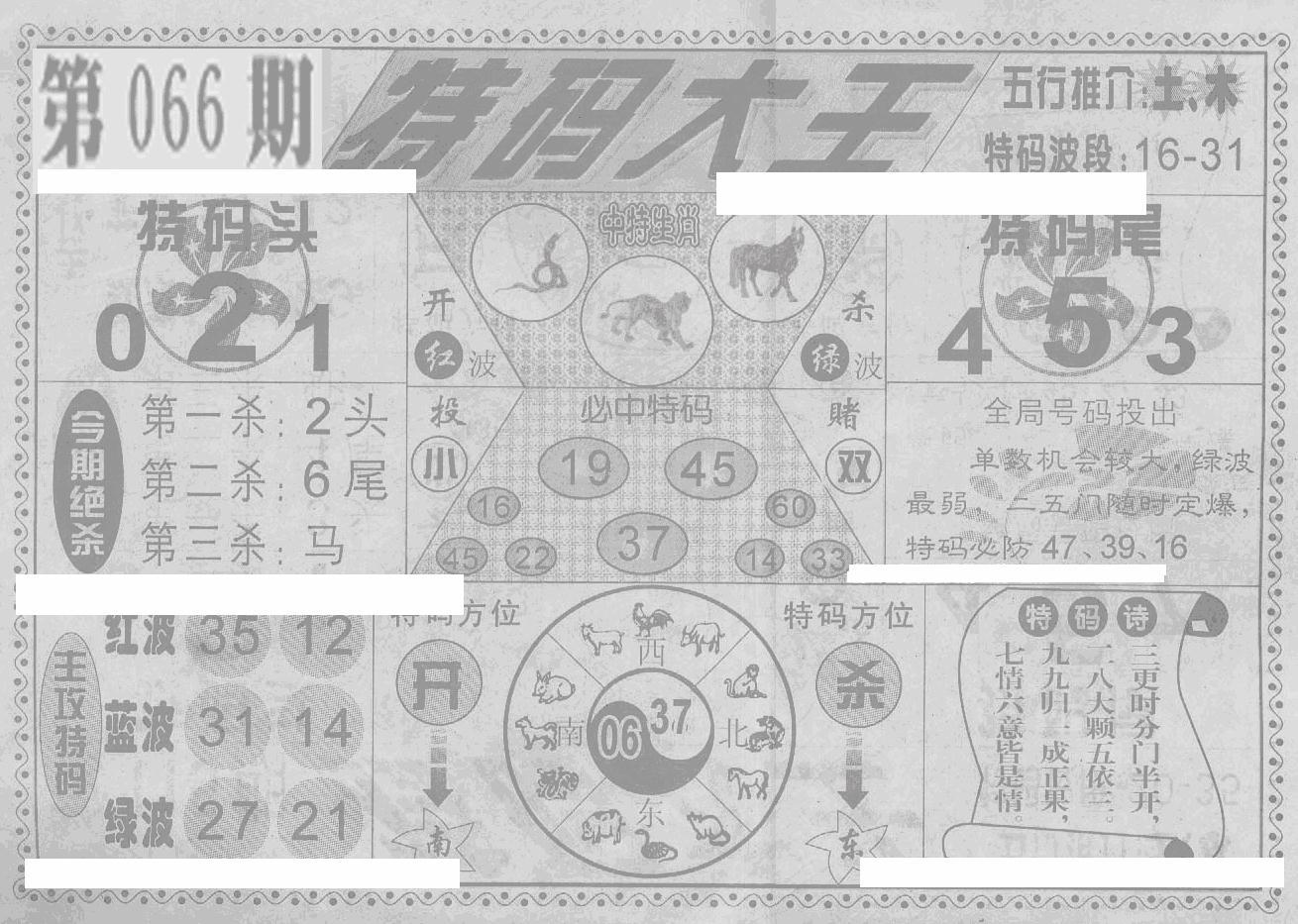 066期特码大王(黑白)