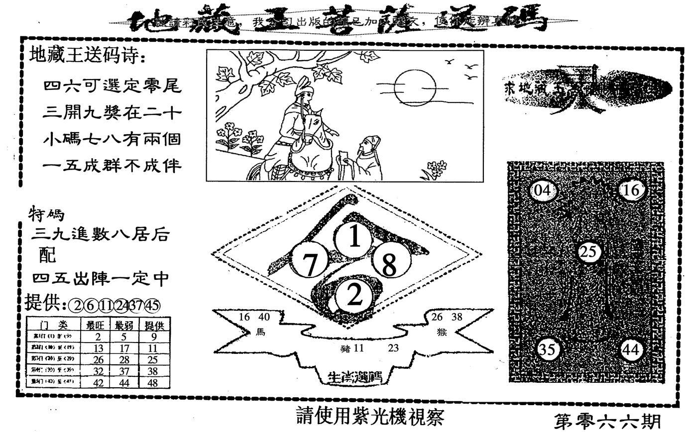 066期地藏王送码(黑白)
