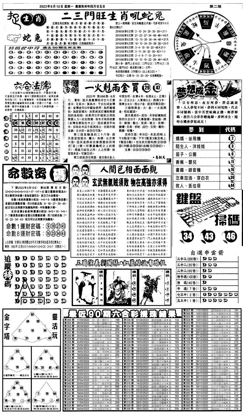 066期新报跑狗4(黑白)