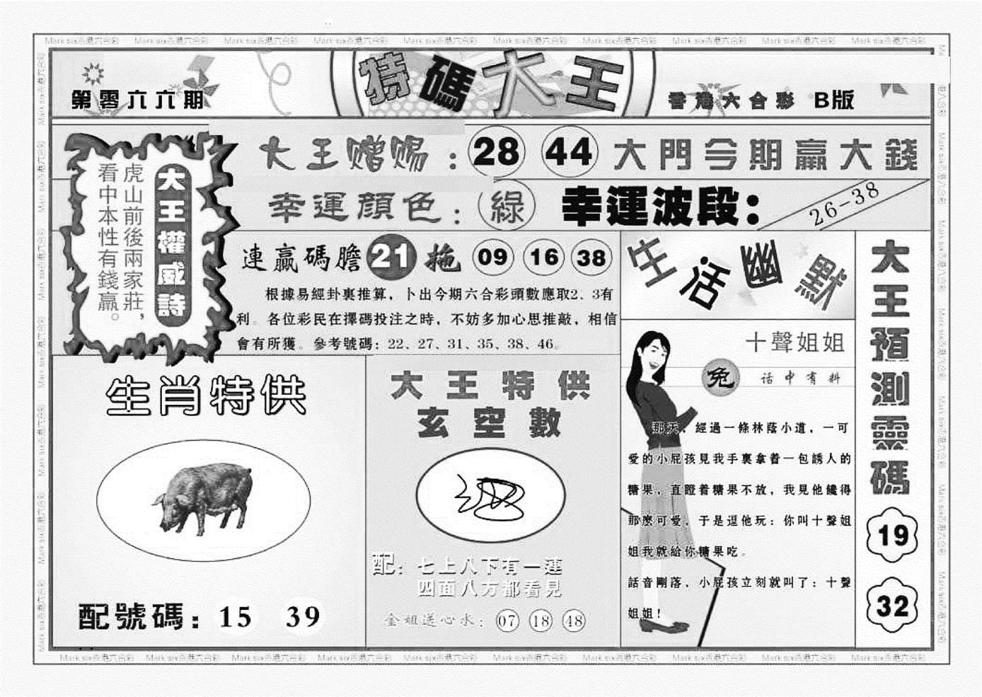 066期特码大王B(黑白)