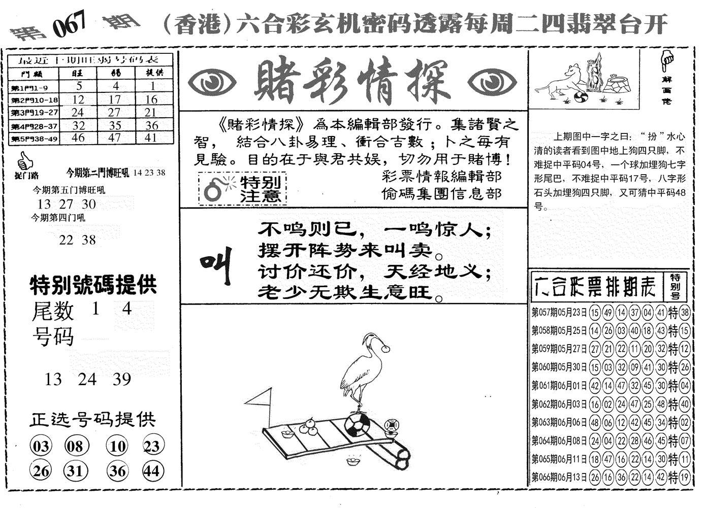 067期另赌彩情探(黑白)