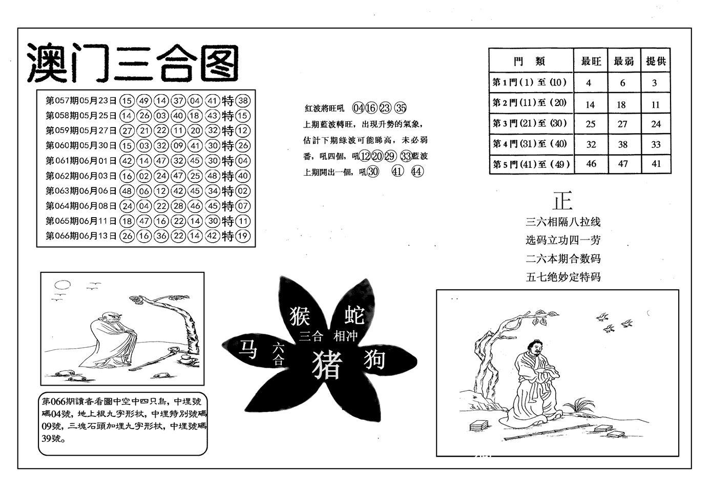 067期另澳门三合图(黑白)