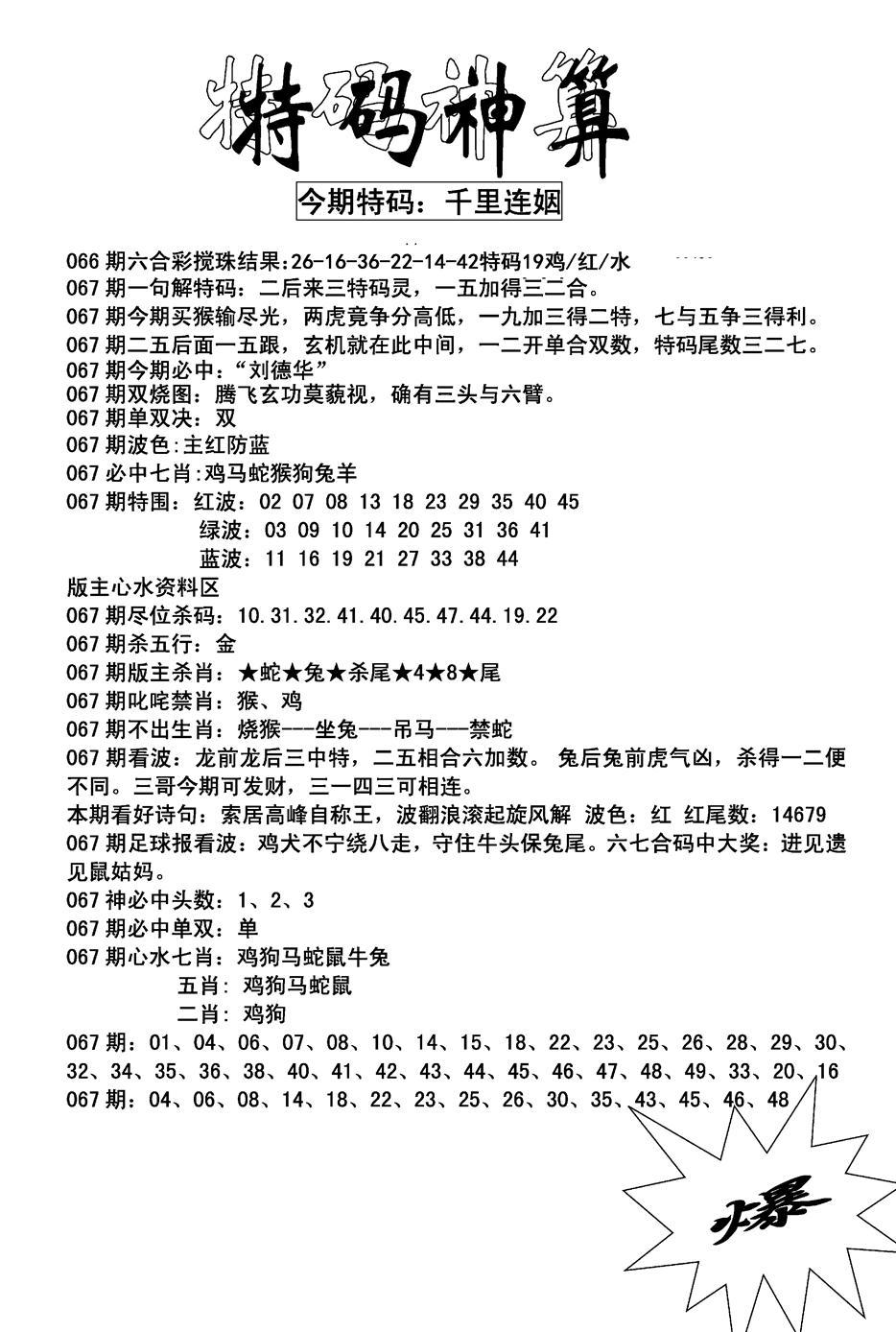 067期特码神算(黑白)