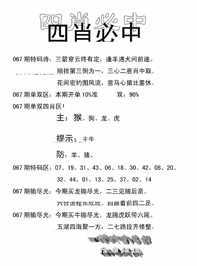 067期四肖中特(黑白)