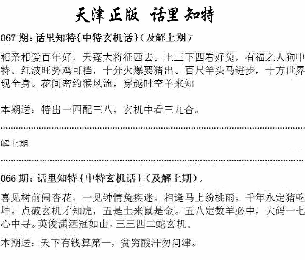 067期天津正版话里知特(黑白)