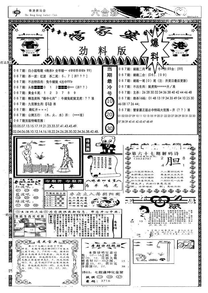 067期管家婆劲料版(新)(黑白)