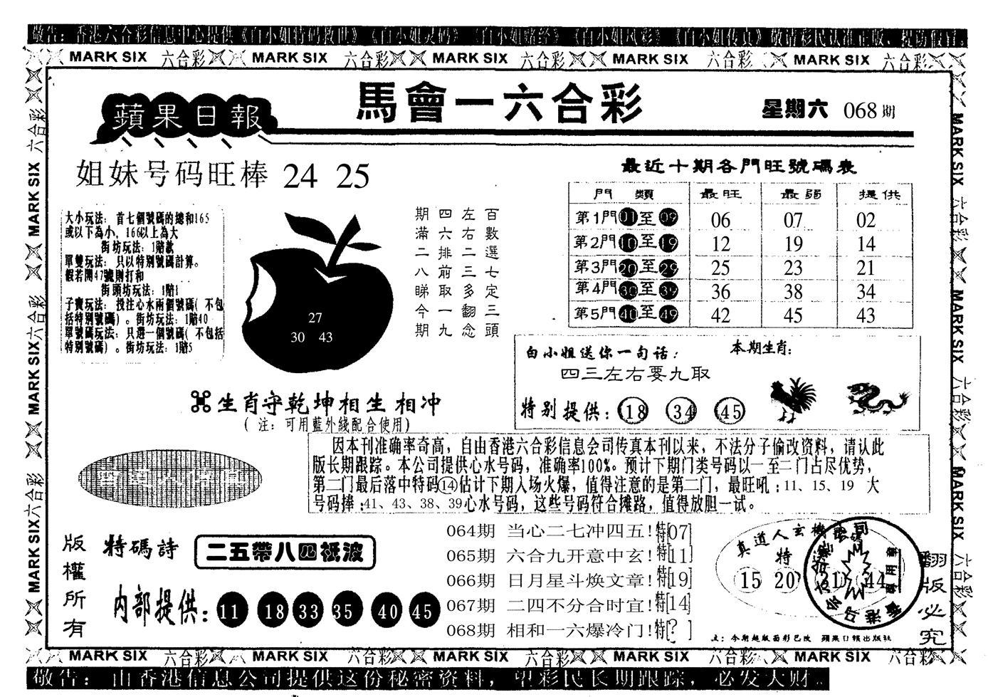 068期苹果日报(黑白)