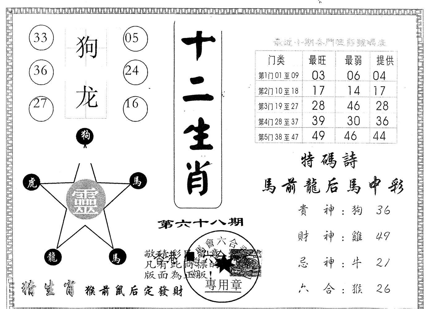 068期另版十二生肖(黑白)
