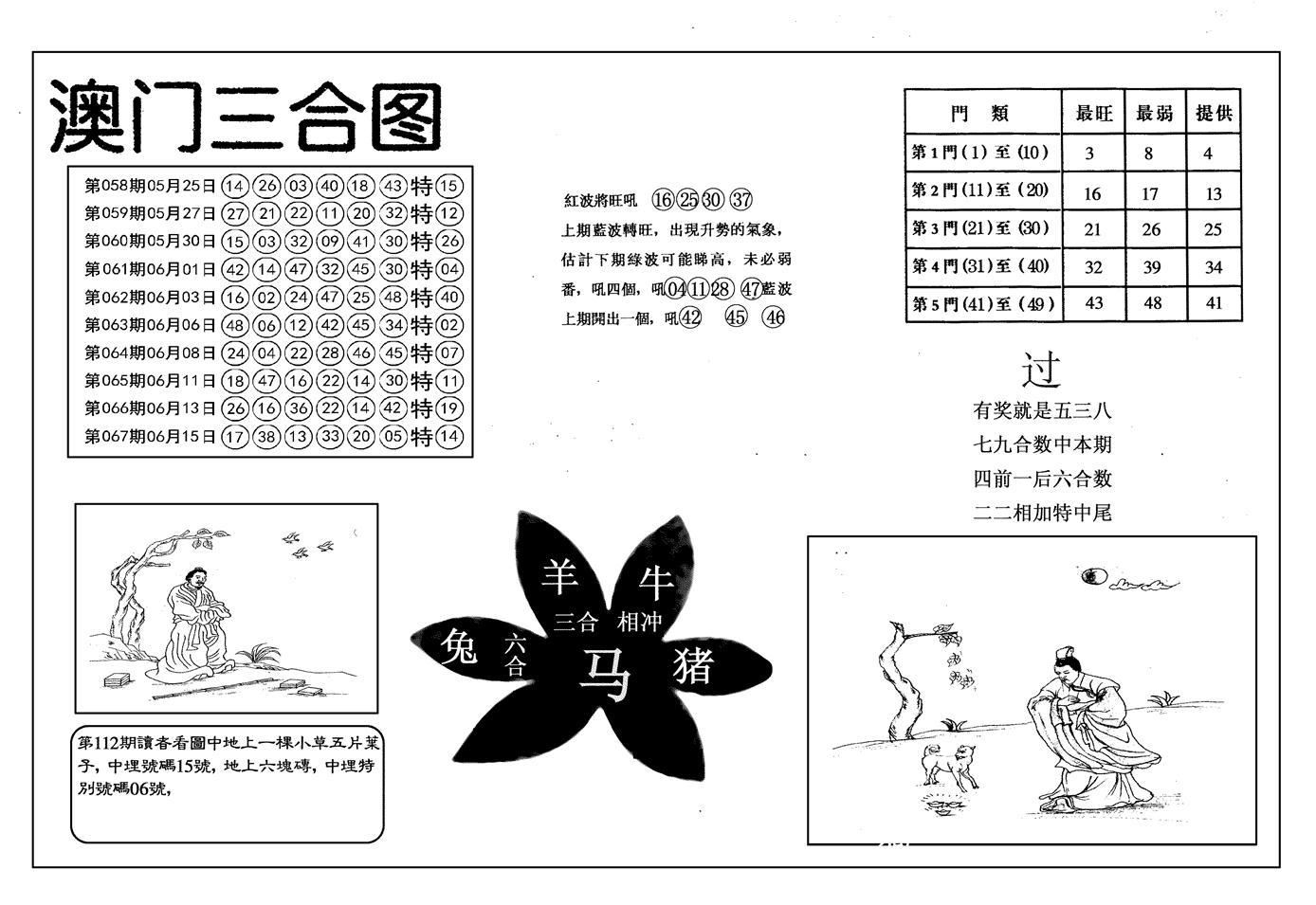068期另澳门三合图(黑白)