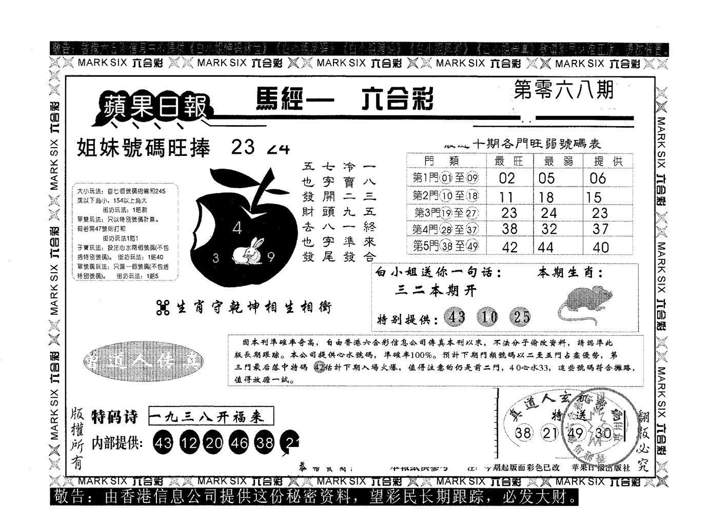 068期苹果日报A(黑白)