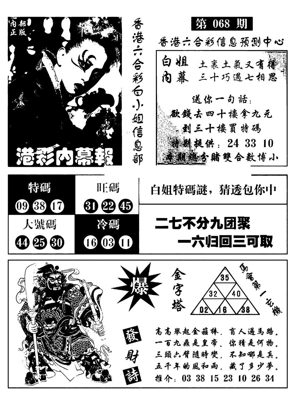 068期港彩内幕报(黑白)