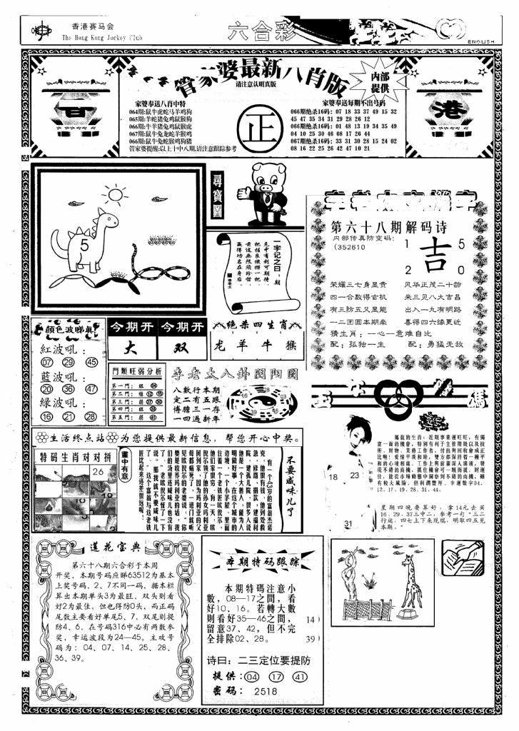 068期管家婆八肖版(新)(黑白)