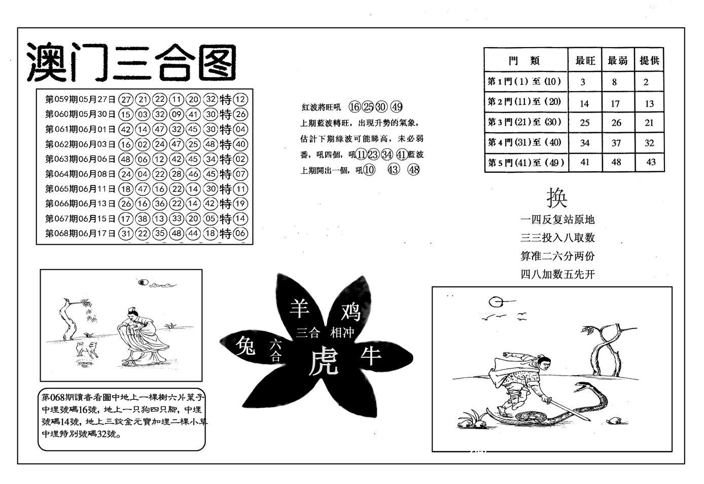069期另澳门三合图(黑白)