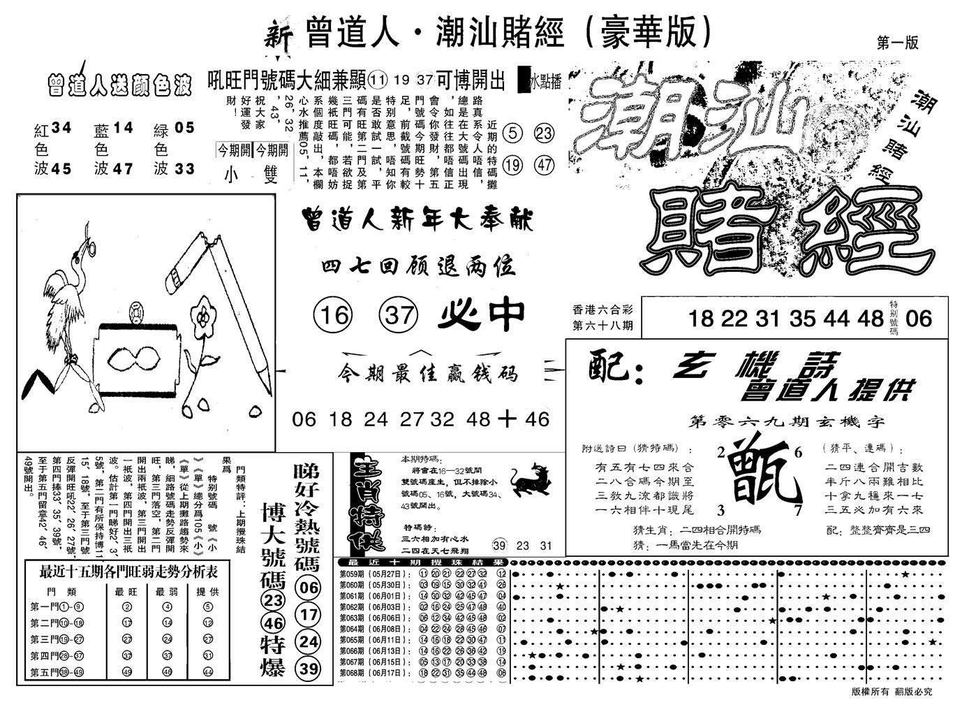 069期另潮汕赌经濠华版A(黑白)